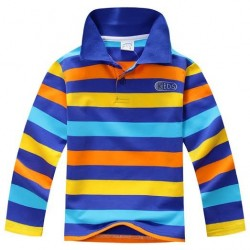 S325- Colorful Stripe Collar Tshirt (Long Sleeves)