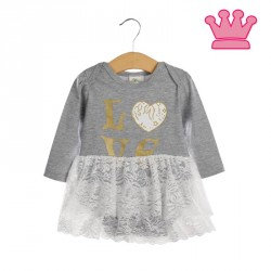R549 - Tutu Skirt Romper (LOVE GREY)