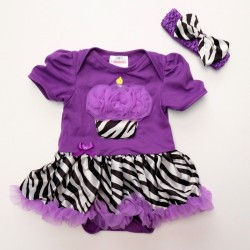 R554 - Cute Little Cupcake Romper Set (Purple)