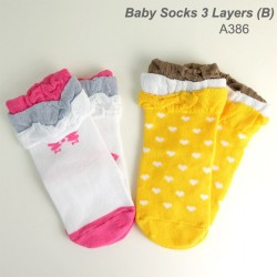 A386(B) - 2IN1 Baby Socks 3 Layers Design (B)