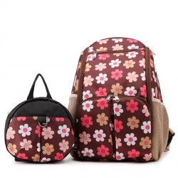 4110086 - 2IN1 Mummy Bag + Kids Anti-lost Bag (BROWN FLORAL)