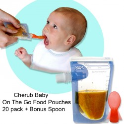 A443/A444 - Cherub Baby On The Go Food Pouches 20 pack + Bonus Spoon
