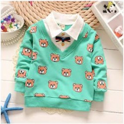 M185 - Bear Print Joint Bow Tie Shirt