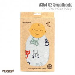 A354(02)-SwaddleBebe Adjustable Infant Wrap: Grey Car