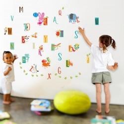 WS3029-WALPLUS Zoo Education Alphabet (S series) WALL STICKERS