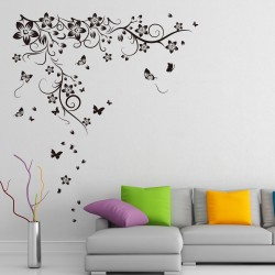 WS9022-Walplus Black Butterflies Vine Wall Sticker (XL Series)
