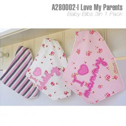 A280002-Baby Bibs 3in1-I Love My Parents