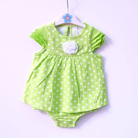 White Rose Green Polkadot