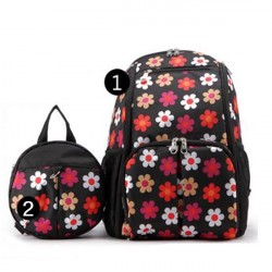 2IN1 Mummy Bag + Kids Anti-lost Bag (Black Floral)