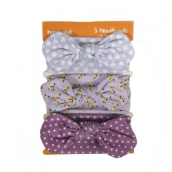 3IN1 HEADBAND SET-PURPLE POLKADOT WHITE