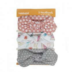 3IN1 HEADBAND SET-GREY POLKADOT WHITE