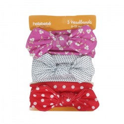 3IN1 HEADBAND SET-RED POLKADOT WHITE